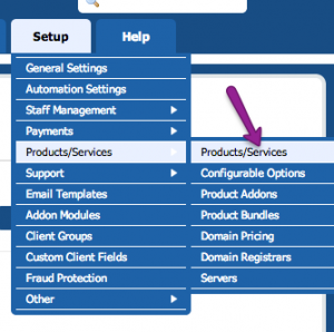 WHMCS Domain Options Step 1: Product Setup