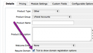 WHMCS Domain Options Step 3: Enable Registration Options